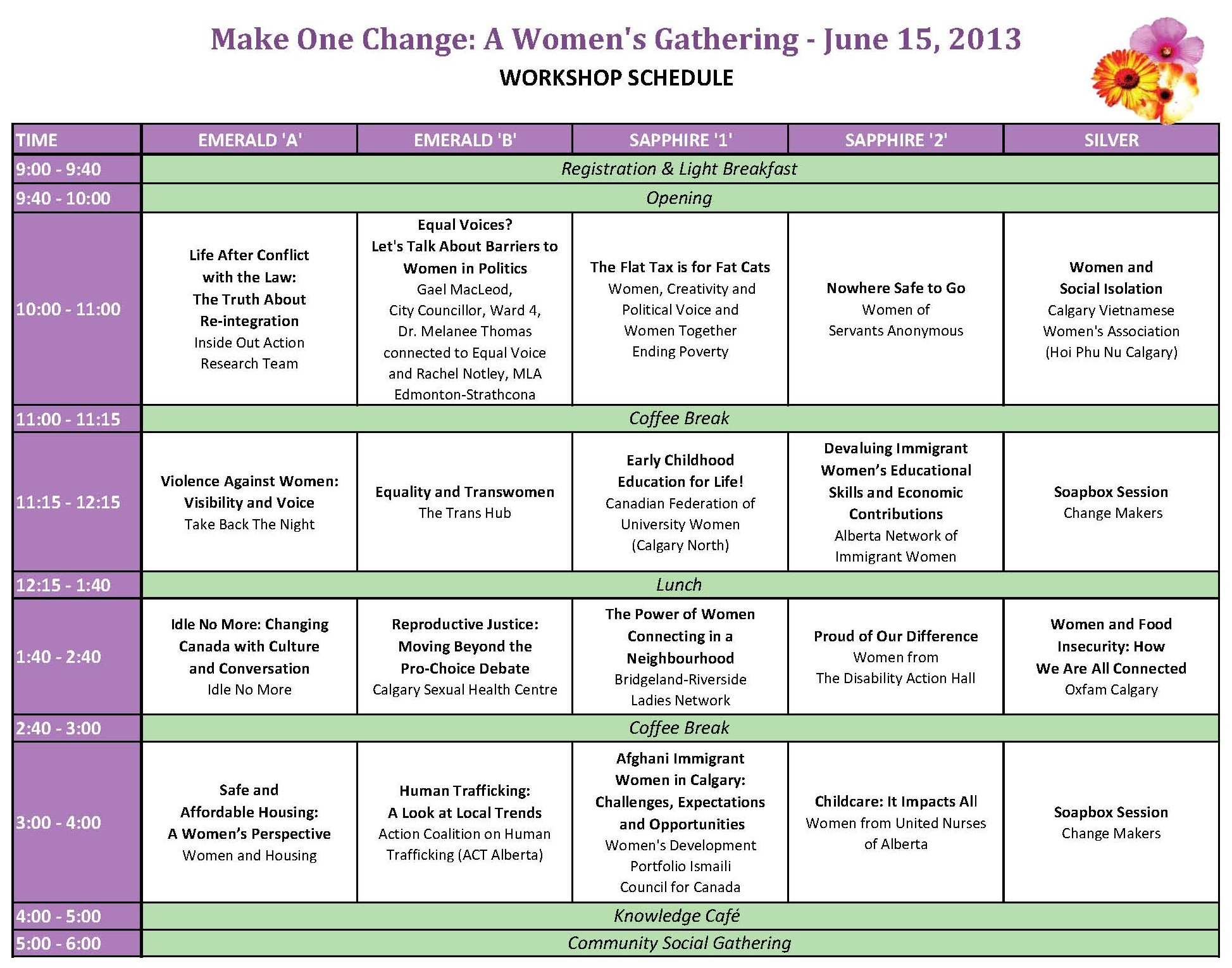 Women's Gathering Schedule